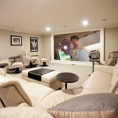 contemporary media room by PRM Custom Builders, LLC