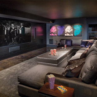 Example Of A Trendy Open Concept Carpeted And Multicolored Floor Home  Theater Design In Indianapolis With