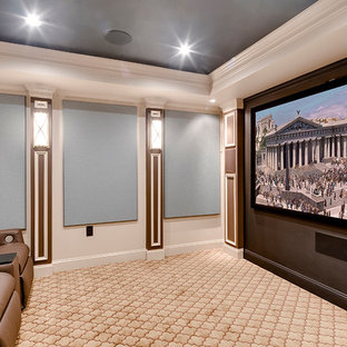 Small contemporary enclosed home cinema in Baltimore with blue walls, carpet and a projector screen.