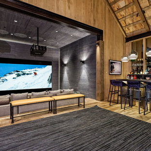 Example of a mountain style home theater design in Denver