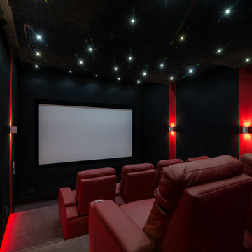 red and black home theater