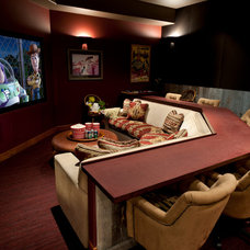 Traditional Home Theater by Tath Hossfeld Designs