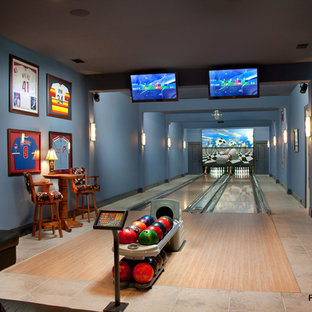 Example Of A Minimalist Home Theater Design In Jacksonville Save Photo Residential Bowling Alley