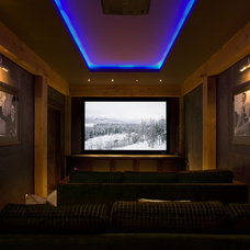 Contemporary Home Theater by Harvest House Craftsmen