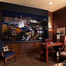 Traditional Home Theater by Interiors by Cary Vogel