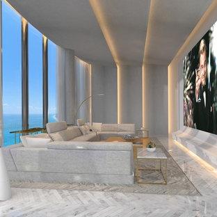 Diseño de cine en casa abierto, minimalista, extra grande, con suelo de mármol, suelo blanco, pantalla de proyección y paredes blancas