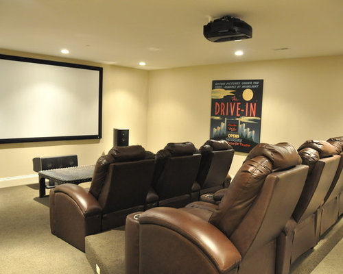 30 Trendy Traditional Home Theater with Yellow Walls Design Ideas ...