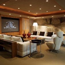Modern Home Theater by Robert Bailey Interiors