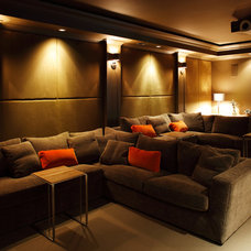 Eclectic Home Theater by Robert Bailey Interiors