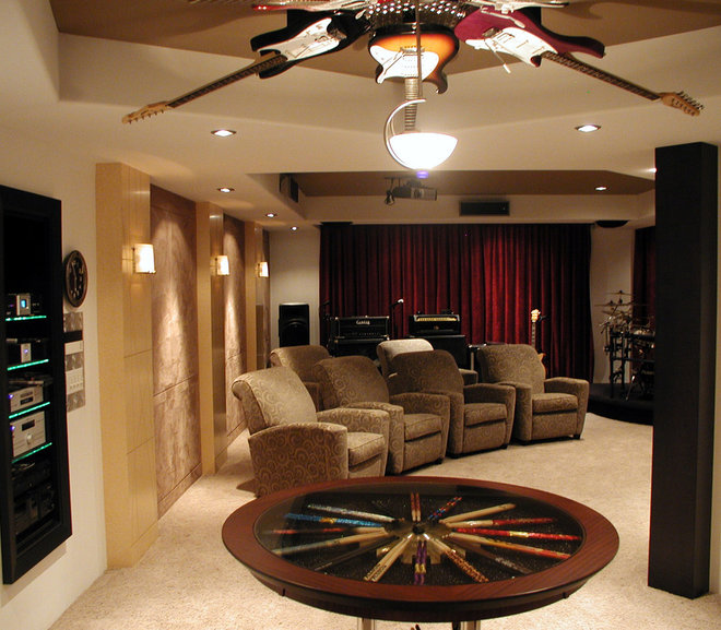 contemporary media room by Designtech Custom Interiors