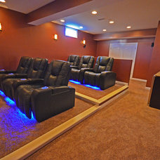 Contemporary Home Theater by MW Construction Services, LLC