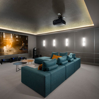Inspiration for a contemporary carpeted and gray floor home theater remodel in Vancouver with gray walls