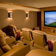 Rustic Home Theater by Andrea Bartholick Pace Interior Design