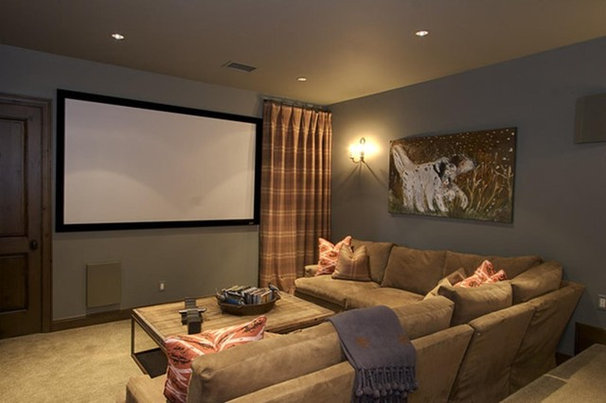 Rustic home theater rustic living room Media room paint ideas