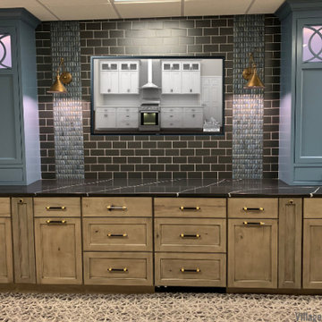Rustic Maple and Panted Blue Cabinetry Custom Amish TV Surround