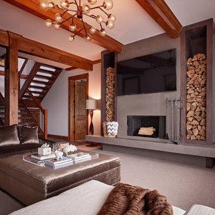 75 Mid-Sized Midcentury Modern Home Theater Design Ideas - Stylish ...