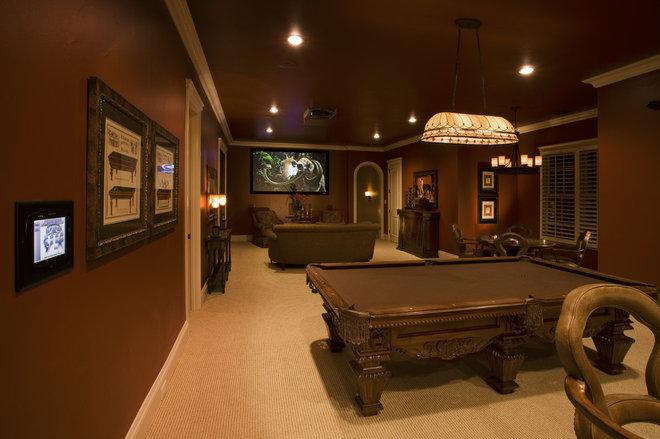 Traditional Home Theater by Sam Allen Custom Home Design
