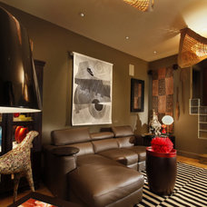 Eclectic Home Theater by Randall Whitehead Lighting Solutions