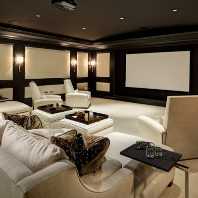 Inspiration for a mid-sized timeless enclosed carpeted and beige floor home theater remodel in Los Angeles with a projector screen and brown walls