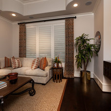 Mediterranean Home Theater by Frankel Building Group