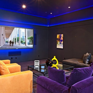 Inspiration for an eclectic enclosed purple floor home theater remodel in Los Angeles