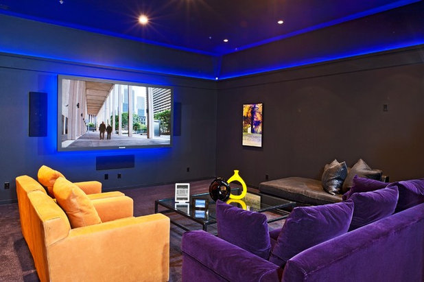 Eclectic Home Theater by DSI Luxury Technology