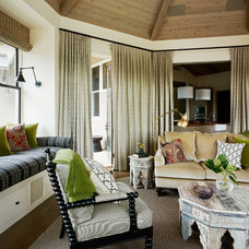 Transitional Home Theater by Jennifer Robin Interiors
