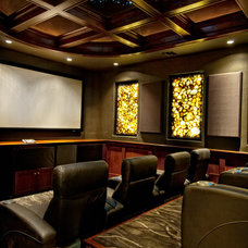 Mediterranean Home Theater by Sater Design Collection, Inc.