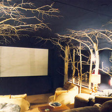 Rustic Home Theater by Scott Cornelius Architect