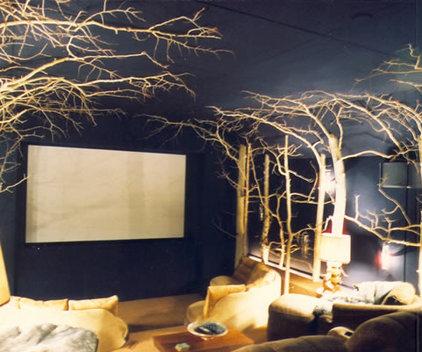 Rustic Home Theater by Scott Cornelius Architect