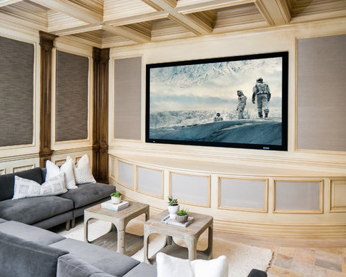 Example Of A Tuscan Enclosed Home Theater Design In Orange County With A  Projector Screen