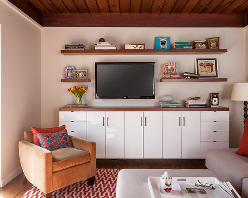 Inspiration For A Small 1960s Open Concept Dark Wood Floor Home Theater  Remodel In San Francisco