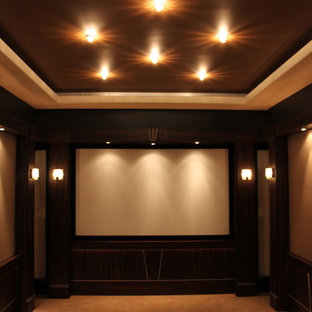 home theater floor lighting stage inspiration for large transitional enclosed carpeted and beige floor home theater remodel in detroit with home theatre lighting houzz