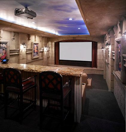 Mediterranean Home Theater by Inouye Design
