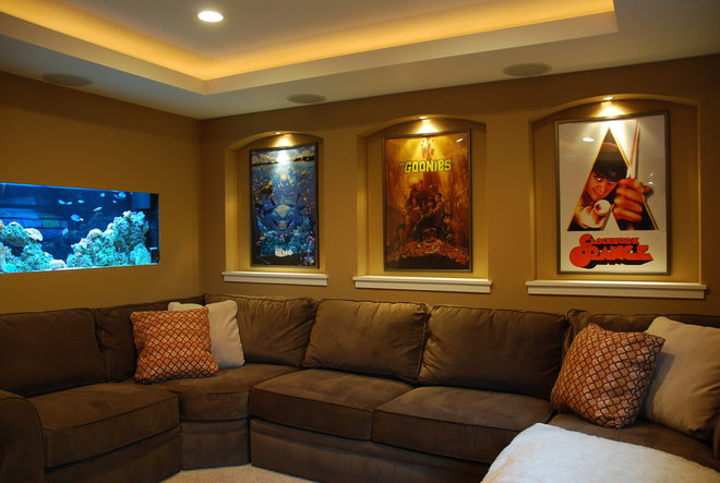 Contemporary Home Theater by Level Design Studios