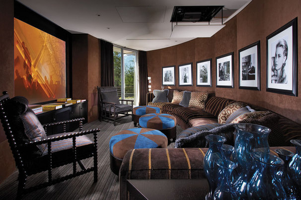 Contemporary Home Theater by Prestige Builders