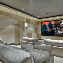 contemporary media room by Brandon Architects, Inc.