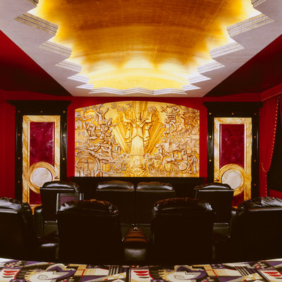 Example of a large classic enclosed carpeted home theater design in Chicago with red walls and a projector screen