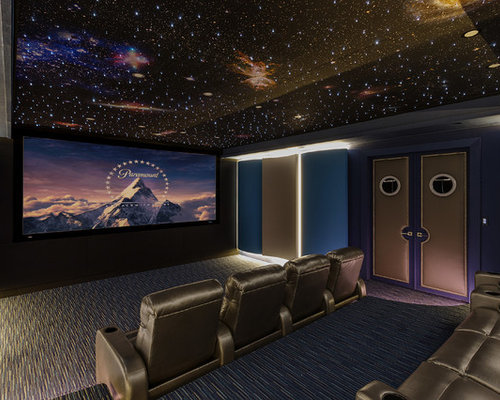 Inspiration For A Large Contemporary Enclosed Carpeted And Blue Floor Home  Theater Remodel In New Orleans