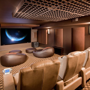 Example of a mid-sized minimalist enclosed carpeted and multicolored floor home theater design in Newark with brown walls and a wall-mounted tv