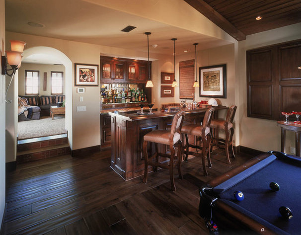 Mediterranean Home Theater by South Coast Architects, Inc.