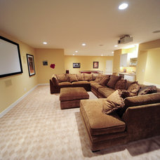 Beach Style Home Theater by Cottage Home, Inc.