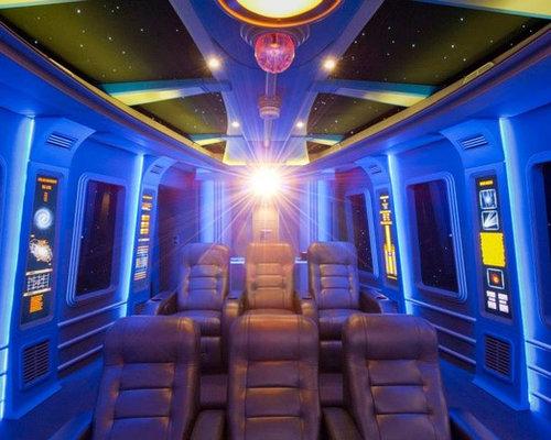 salle de cin ma moderne avec un mur bleu photos et id es d co de salles de cin ma. Black Bedroom Furniture Sets. Home Design Ideas