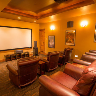 Home theater - rustic home theater idea in Denver