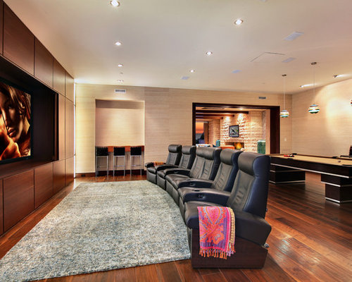 Contemporary Brown Floor Home Theater Idea In Orange County