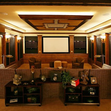 Mediterranean Home Theater by MJS Inc. Custom Home Designs