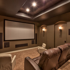 Mediterranean Home Theater by Inspired Interiors