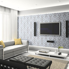 Modern Home Theater by The Tile Gallery
