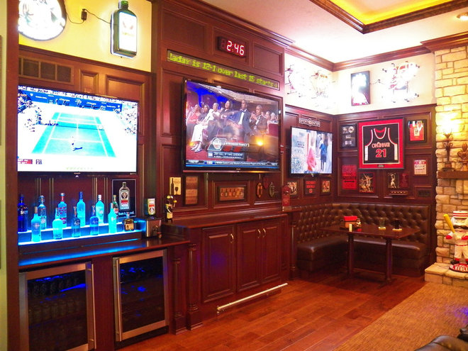 A Sports Bar In The Family Room