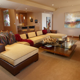 Design ideas for an eclectic home theatre in Minneapolis.
